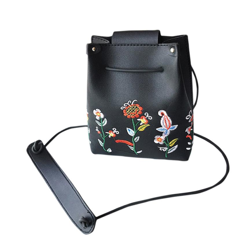 Girls Women Retro Female Simple Floral Bag Crossbody Shoulder Bag Embroidery Handbag Mini Small Bucket Package Drop Ship #T lipt 2018 mini package bag chain bag small package of the new spring and summer leisure package free shipping