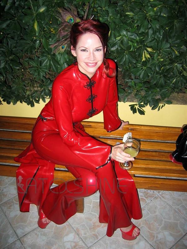 Elegant-Sexy-Red-Latex-Cheongsam-Clothing-Skintight-for-Women