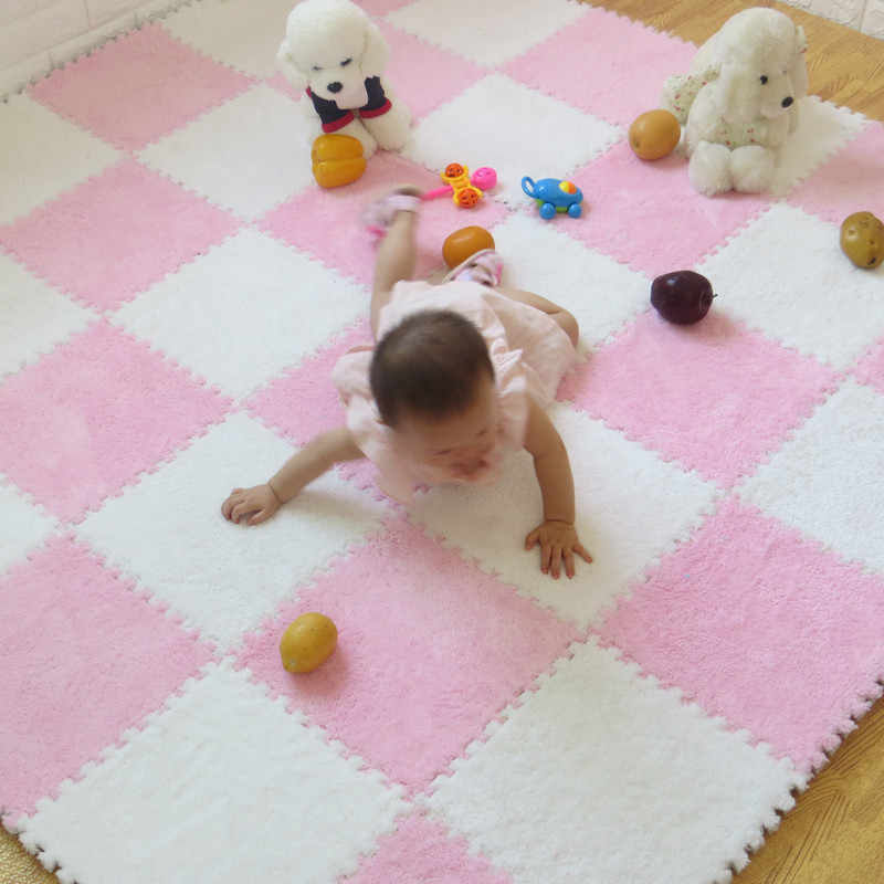 30x30x06cm Kids Soft Fluffy Floor Rug Anti Skid Shag Shaggy Area Gym
