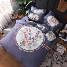 NEW 100% Cotton 4PCS Bed Sets High Quality Flower Bedding Sets quilt cover pillowcase hotel bed sheet bedclothes unique bedlinen promotion 6 7pcs high quality ropa de cuna bedclothes baby bedding cotton baby bed sheet 120 60 120 70cm