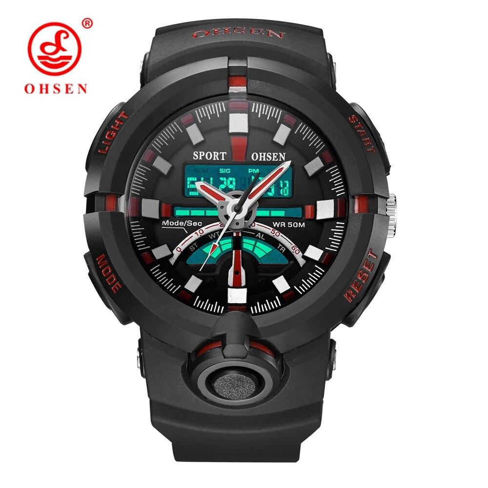 Fashion Brand OHSEN Men's Sport Watch Man Military Quartz Digital Watch Men Watch 5ATM Swim Shock Wristwatches Stopwatch Relogio ohsen 2821 sport quartz watch blue