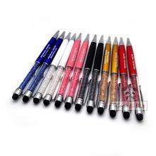 Hot 2 in 1 logo pen crystal pen screen touch Stylus pen for