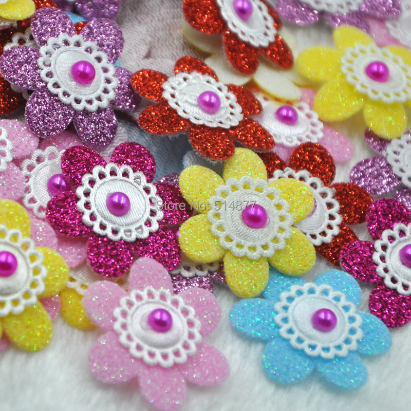 100PCS Padded Sunflowers Felt Flower Appliques 6 Color-Pick color B303