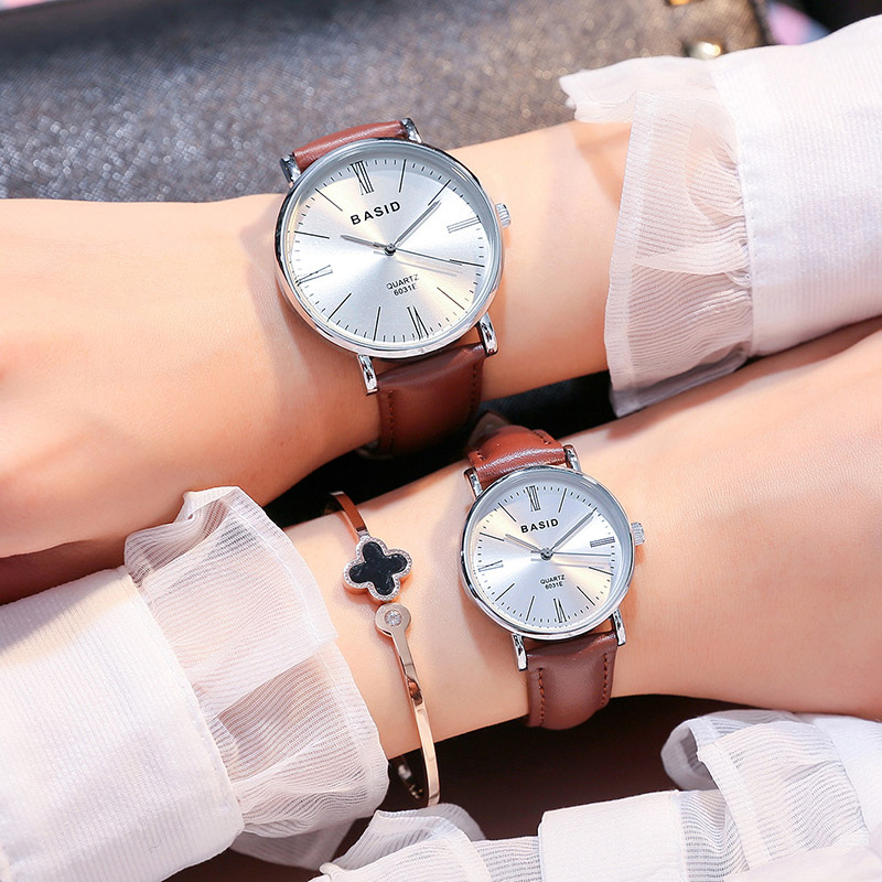 BASID brand Couple Watches for Lovers Pair Quartz Wrist Watch Fashion Waterproof Men Women Wristwatches Gift relogio