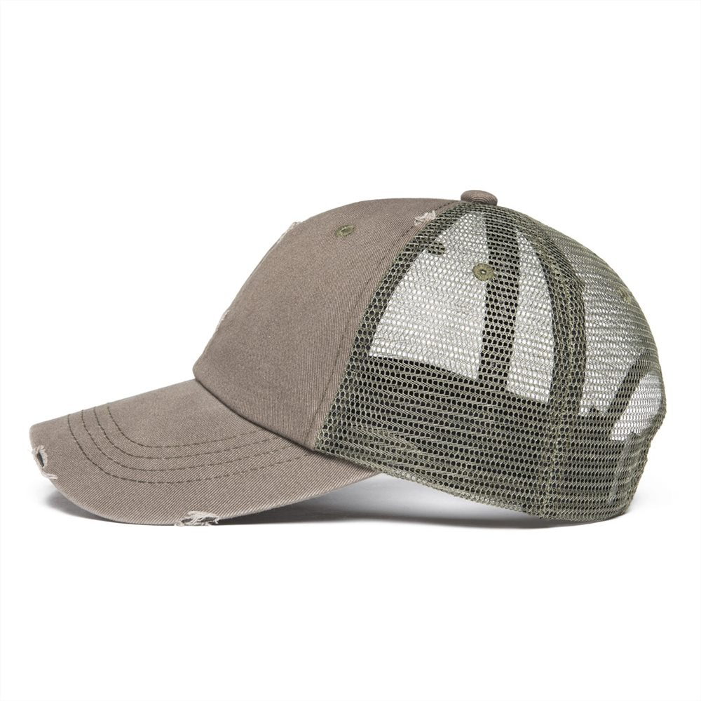 VOBOOM Olive Mesh Net Baseball Cap Men Women Dsitressed Washed Cotton Trucker  Caps Worker Hat Summer Sun Protection Hats 020-in Baseball Caps from  Apparel ... 6b41413b9