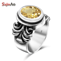 Szjinao Famous Brand Women Ring Solid 925 Sterling Silver Yellow OL Ethnic Citrine Jewelry Accessories Vintage bague anel bijoux