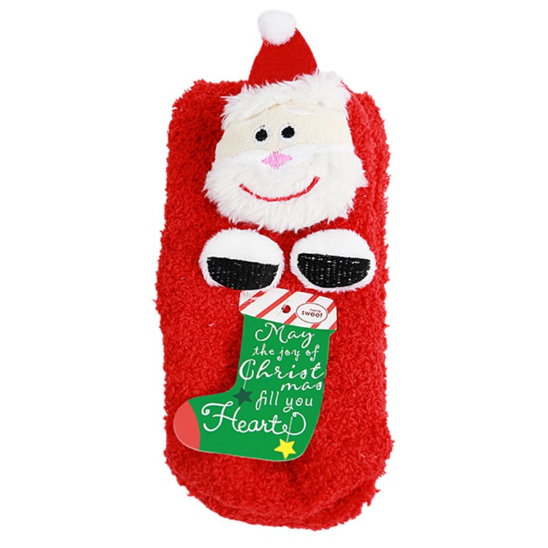 Autumn And Winter Coral Cashmere Socks Three - dimensional Cartoon Christmas Series Non - slip Children s Thick Socks Sleep Soc
