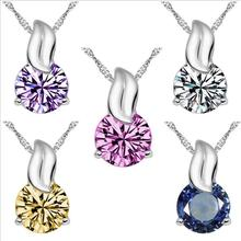 Everoyal New Arrival Lady Silver 925 Clavicle Necklace for Women Accessories Charm Zircon Blue Pendant Girls Jewelry