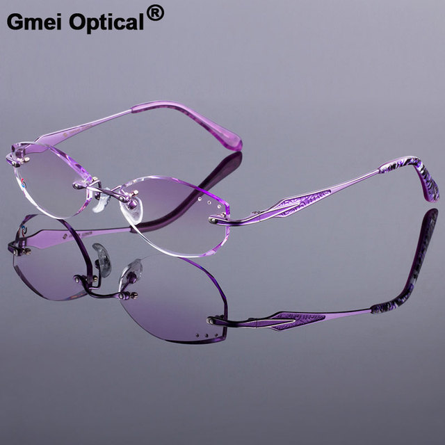 Attractive Women Titanium Alloy Glasses Frame Women Rimless Frame ...