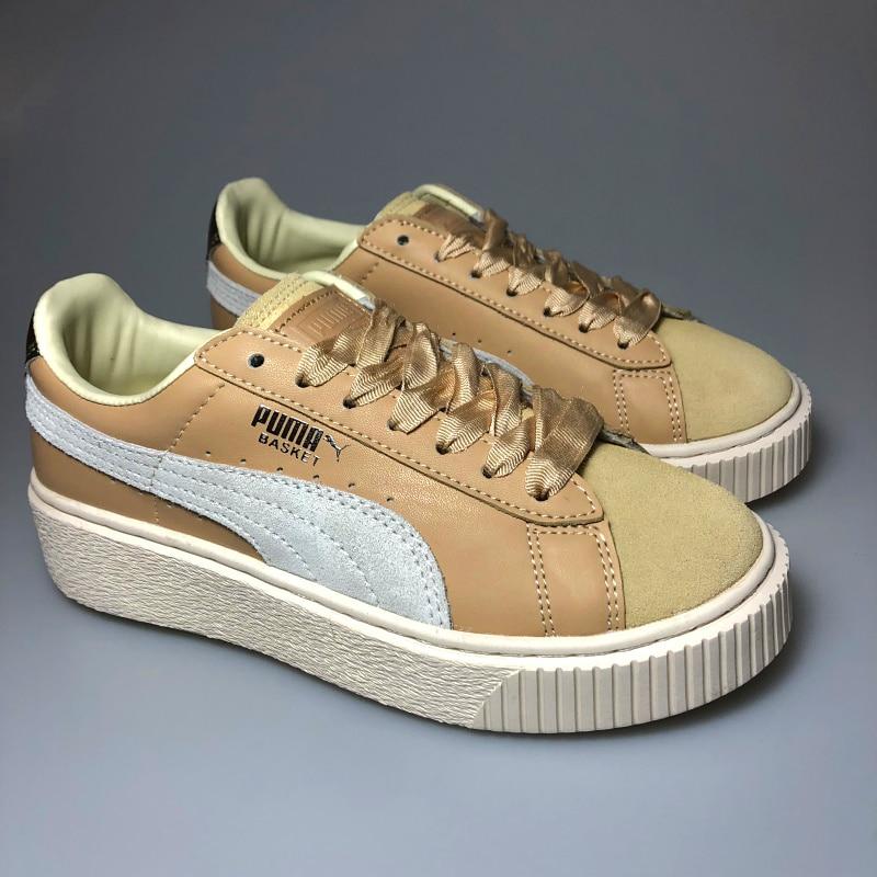 Original PUMA x FENTY Suede Cleated Creeper Women's Second Generation Rihanna Classic Basket Suede Tone Simple Badminton Shoes