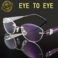 Mulher de luxo marca de moda designer de óculos de armação de óculos de titânio flexível crystal clear strass diamante sem aro 1708