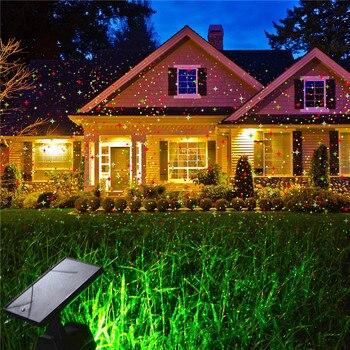 LED à alimentation solaire lumière Laser scène lampe rouge + vert projecteur LED lumières extérieur paysage décoration pour pelouse, cour, Patio, fête