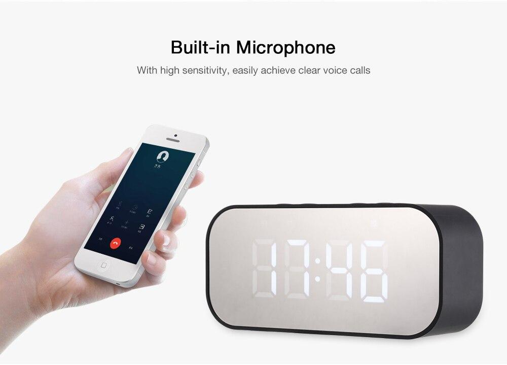Bluetooth 5.0 Portable Wireless Bluetooth Speaker Column Subwoofer Sound Box LED Time Alarm Clock Mirror For Laptop Phone