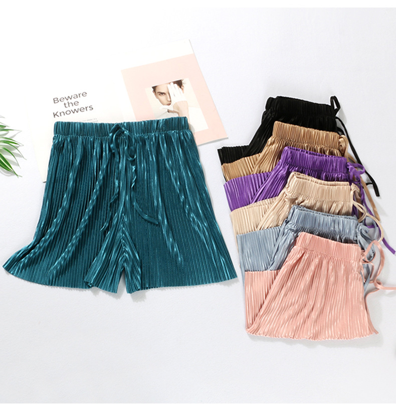 Summer Women Shorts Ice Silk Pleated Chiffon Wide Leg Shorts New Fashion Female Girls Casual Elastic High Waist Short Pants