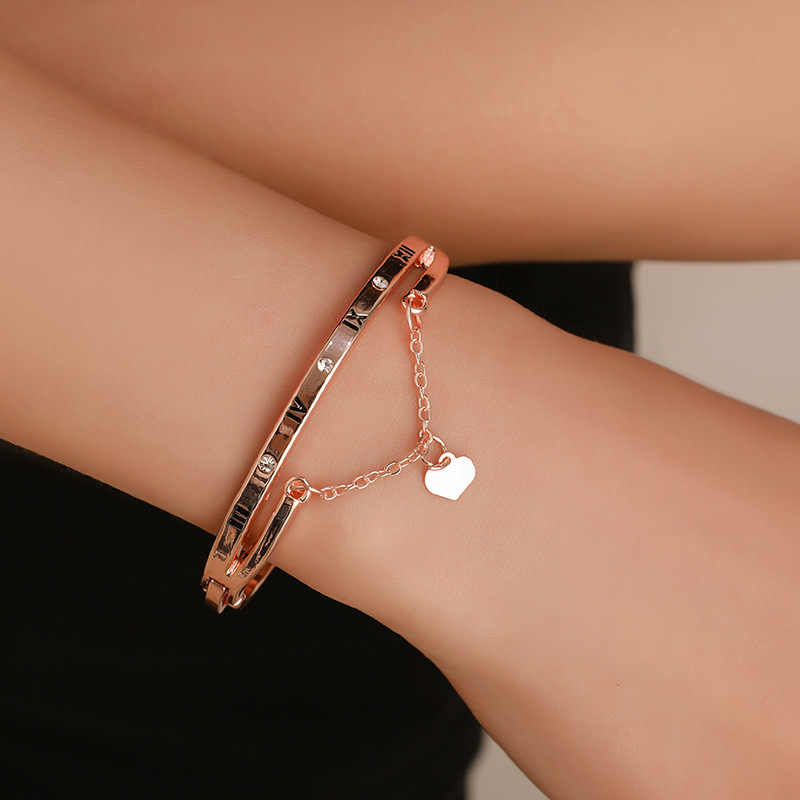 Fashion Jewelry Rose Gold Peach Heart Tassel Bracelets Female Roman Letter Forever Love Charm Bracelet For Women drop shipping