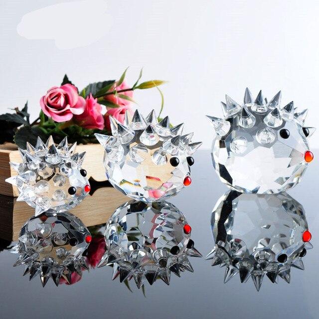 Nette Glas Kristall Igel Figuren Briefbeschwerer Handwerk Kunst