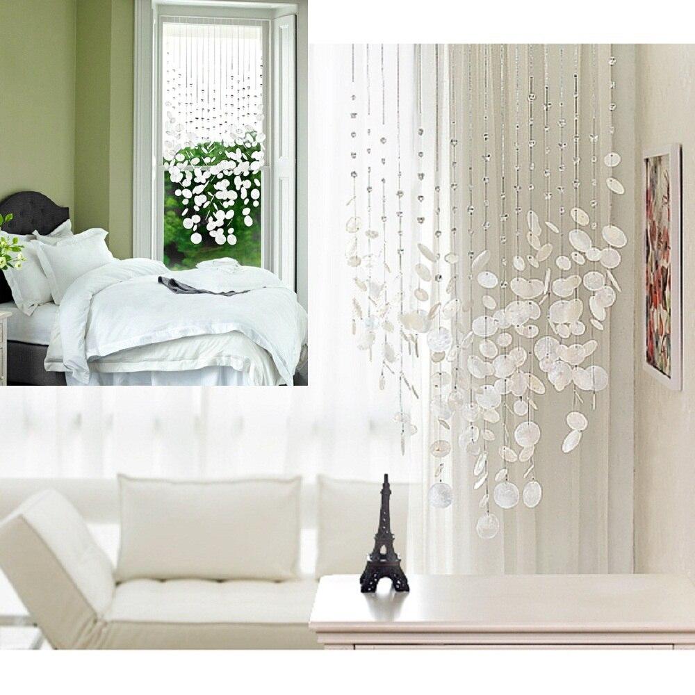 Produit fini 12 cordes shell cristal perle rideau peut être personnalisé décoration porte cristal rideau porche partition - 2