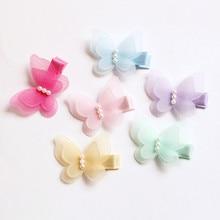 2cards/4pcs/lot Lovely Butterfly Shape Hairpins Modish Girl Cute Hair Clips Handmade Mini Pearls Kids Barrettes Children