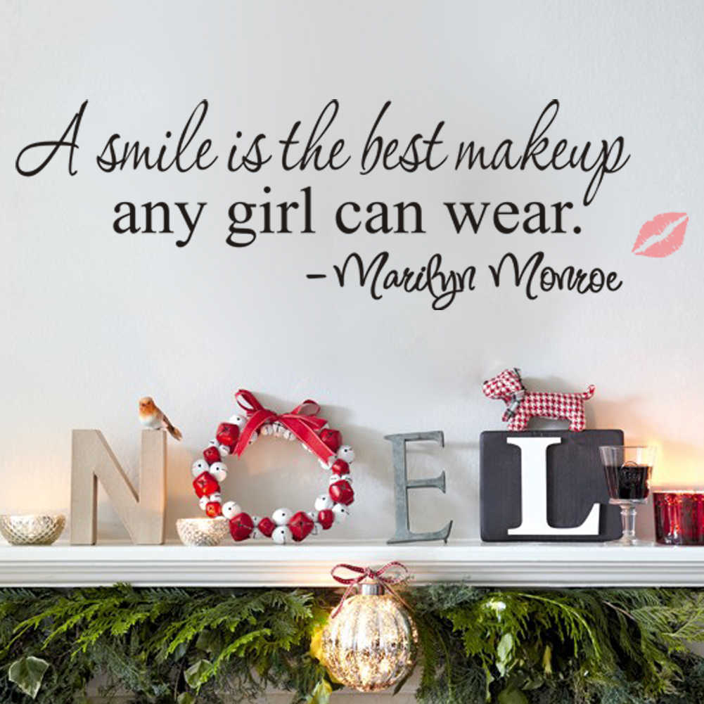Creative Mary Jane motto Wall Sticker Home Bedroom Living Room smile Wall tattoo Art Decor Vinyl Red lips Wall Sticker