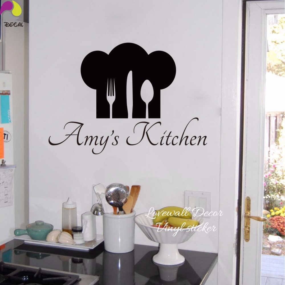 Personalized Name & Chef Hat Utensils Kitchen Wall Sticker Cuision Cook Dining room Custom Name Decal Vinyl Home Decor