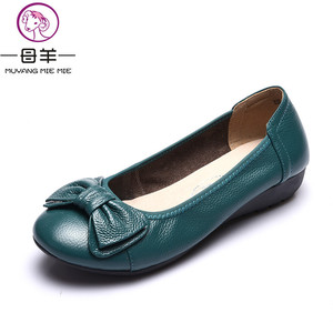 Image 1 - Plus Size(34 43) Women Shoes Genuine Leather Flat Shoes Woman Maternity Casual Work Shoes 2019 Fashion Loafers Women Flats