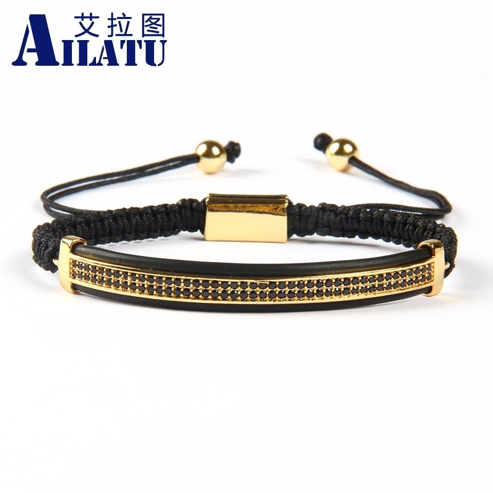 Ailatu hurtownie 10 sztuk moda męska biżuteria Micro Pave mosiądz czarny Cz podwójne długie rurki ochraniacz na zegarek Macrame bransoletki w Plecione bransoletki od Biżuteria i akcesoria na  Grupa 1