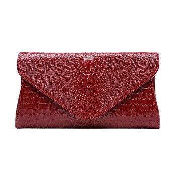 2018 Women Clutch Bags Vintage Cow Leather Crocodile Pattern Envelope Shoulder Ladies Small Messenger Handbag Female Gift