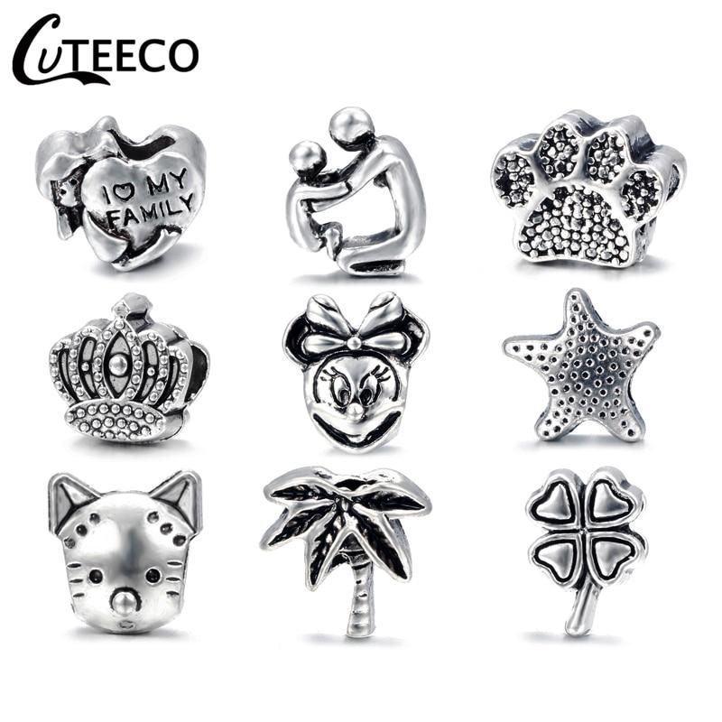 CUTEECO Wholesale 1pc Antique Silver Love Family Mickey Crown Big Hole Bead Charm Fits European Pandora Charm Bracelets Jewelry