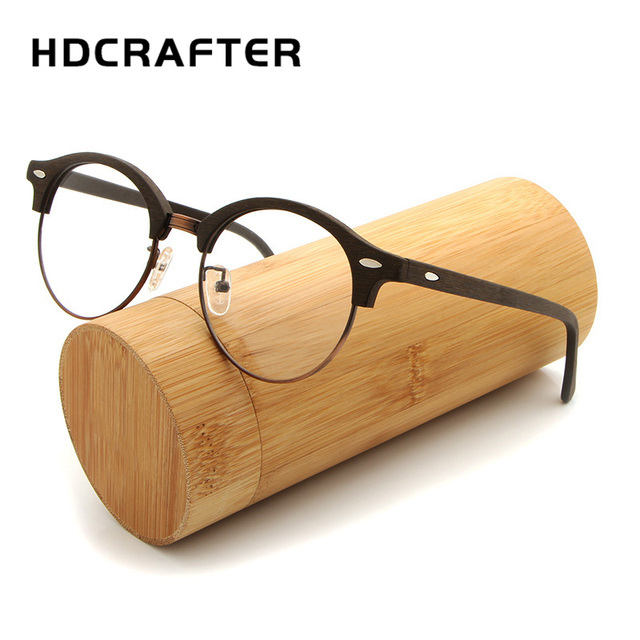 0bbaef32313 HDCRAFTER Retro Round Eyeglasses Frames Men Women Wooden Fashion Myopia Glasses  Frame with Clear Lens Computer