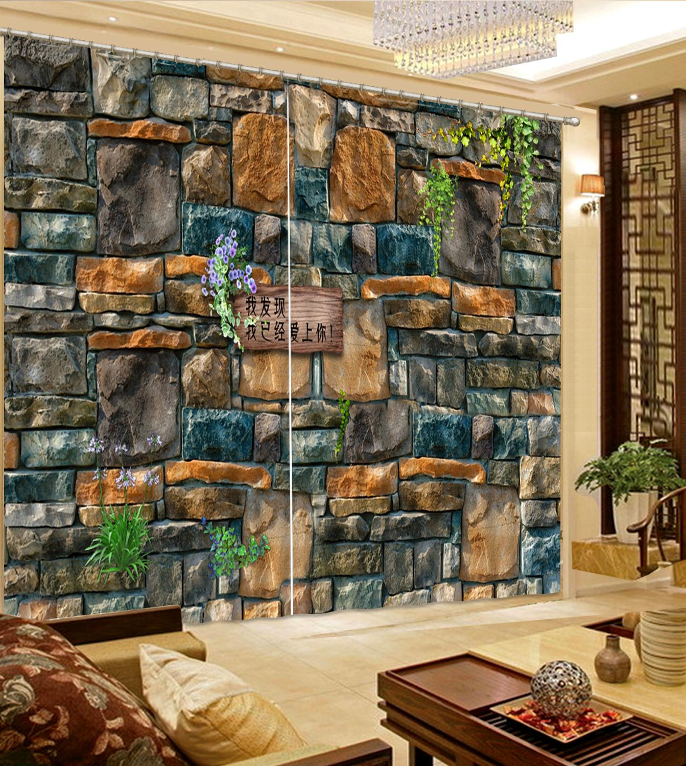 customize blackout curtains Stone wall curtains for Any room window curtain 3d height modern curtains