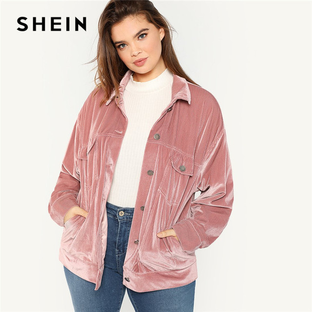 14a353b926 SHEIN Pink Casual Single Breasted Velvet Plus Size Jackets Women 2018  Streetwear Autumn Winter Solid Coats