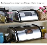 Stainless steel bread storage box multi purpose kitchen storage box home large buffet restaurant with lid storage box