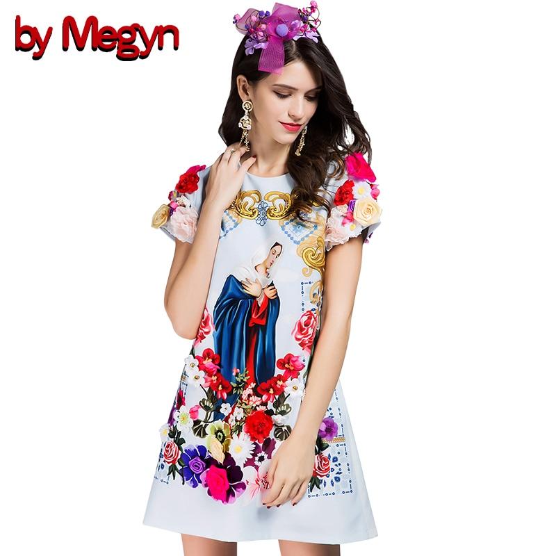 Robes O Mode Floral Marie Megyn Brand 3d Designer cou Fleur New Appliques Multi Dg229 Impression Robe Par Moulante Vierge Mince zTwqxFgz