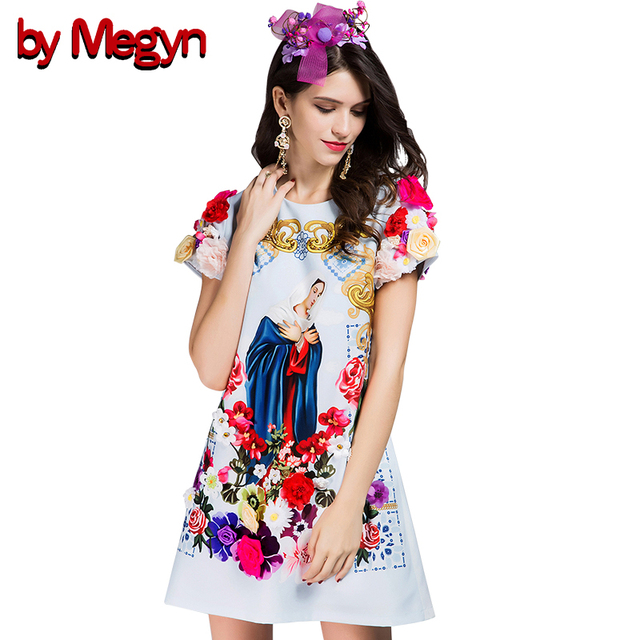 by Megyn Designer Brand New Fashion 3D Flower Appliques Dress O-Neck Floral  Virgin Mary 6f5a6517a68f