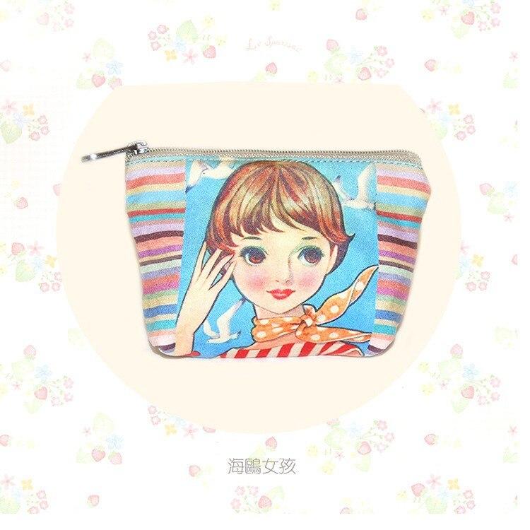 Porte-monnaie Cartoon Cat Femmes Fille Toile Portefeuille Écouteur carte clés sac de rangement