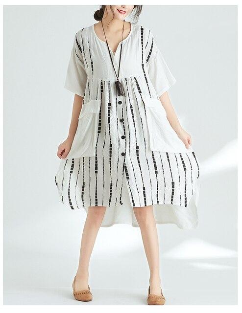Quirky Lagenlook Asymmetrical hem Big Pockets Casual Flax A-Line Dress 2018 Plus Size Cotton&Linen Tunic Dress Summer Vestidos 1