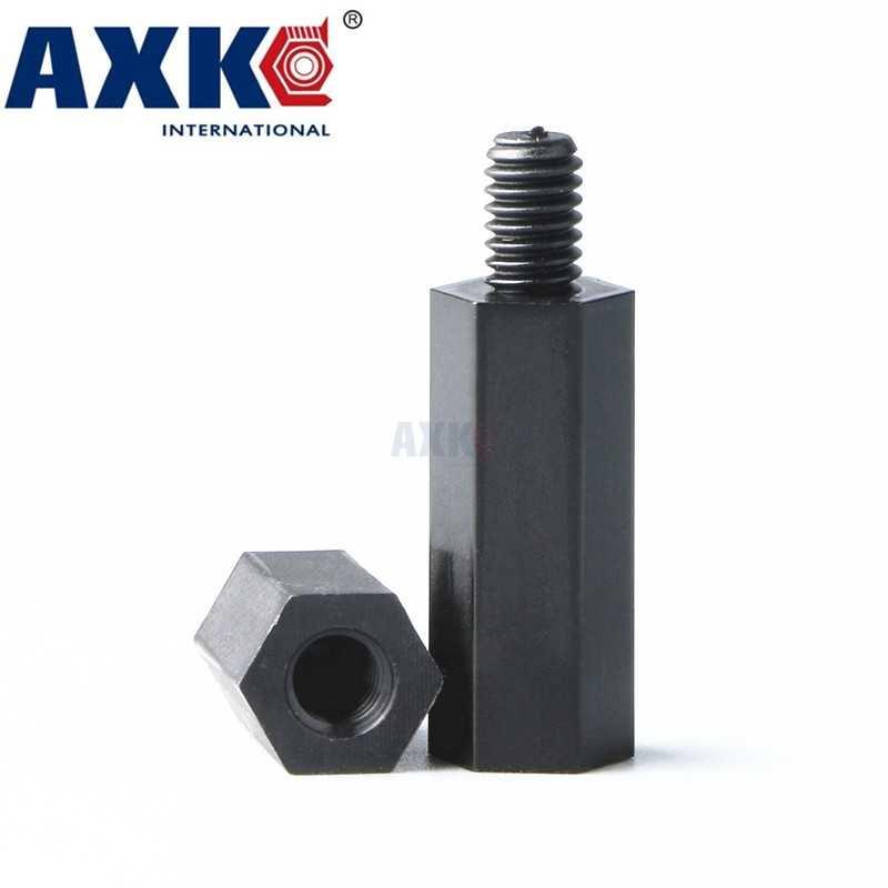 "Axk 100 יחידות ניילון בקו עימות Spacer M3 6 מ""מ שחור זכר לנקבה ברגי Hex פלסטיק עמוד Pcb M3 * 5/6/8/10/12/15/20/25/30/35 מ""מ"