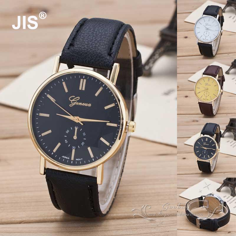 Luxury Classic Geneva Gold Silver PU Leather Quartz Dress Business Wrist Watch Gift Hours for Men Boy Black Brown classic luxury formal unisex dress quartz men women wrist watch rose golden metallic strap decorational subdial gift box