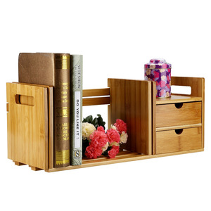 Image 5 - Tabletop Bookcase Bamboo Wood Extendable Desk Tabletop Book Rack Bookshelves Bookcase Organizer with 2 Drawer Tabletop kirjahyll