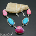HERMOSA Jewelry Unique Fashion SHELL DICHROIC GLASS 925 Sterling Silver Women Necklace 19 inches HM554