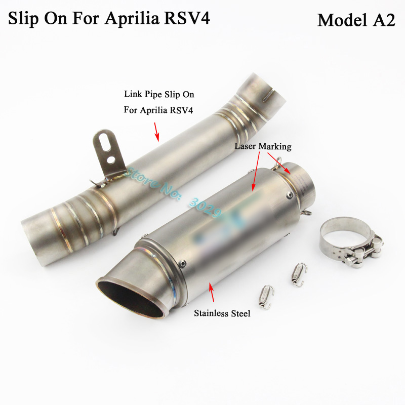 RSV4 Slip On For Aprilia RSV4 Motorcycle Muffler Exhaust Escape Set with Middle Link Pipe Connector Laser Marking Sticker 12-15 motorcycle exhaust muffler with akrapovic laser marking slip on for honda rs150 rs150r moto escape