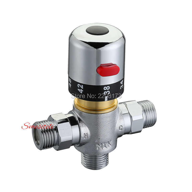 Solid Brass 3 way Theremostatic Mixing Valve 1/2 IPS Male Connections Solar Water Heater Valve Adjust Temperature Control Valve