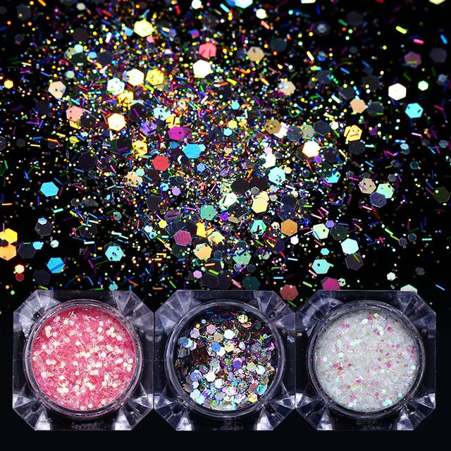 Holographic Shiny Nail Glitter Powder Flakes Nail Paillette Stripe Sequins Powder Nail Art Decoration Accessories Tips