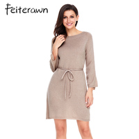 Feiterawn New Winter Khaki Black Long Sleeve Off The Shoulder Knit Dress Two Ways Wear Sexy