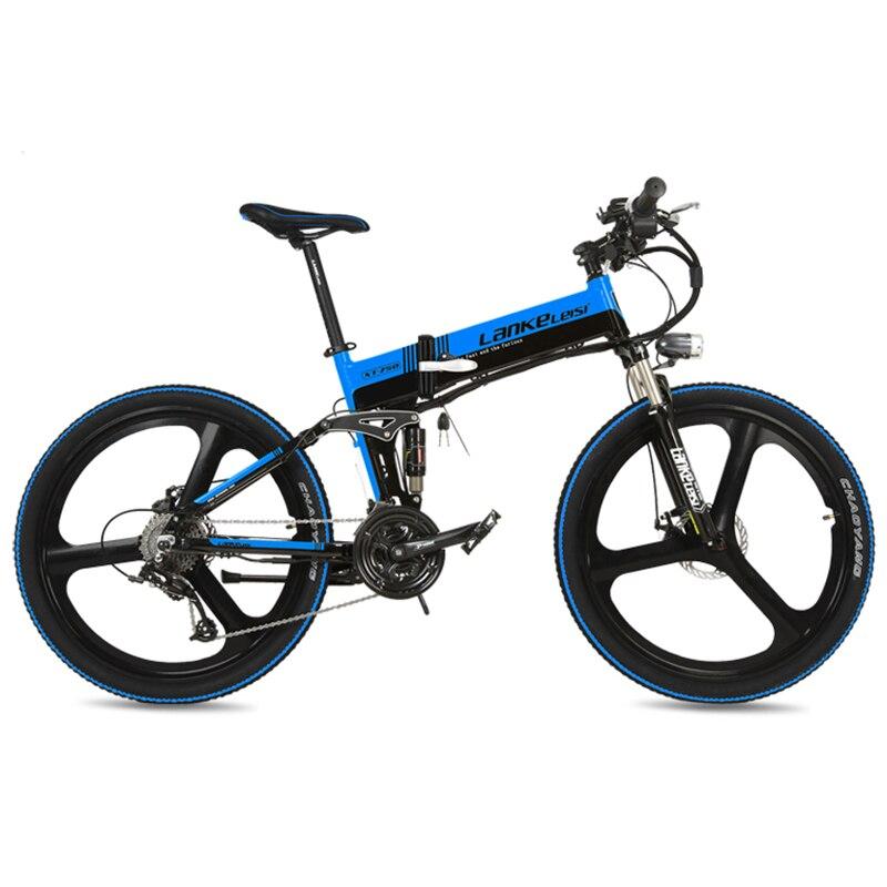 Vélo électrique pliant d'assistance de pédale de 26 5 vitesses 27 vitesses, grand compteur de vélo, batterie de marque supérieure, frein à disque hydraulique, longue Endurance