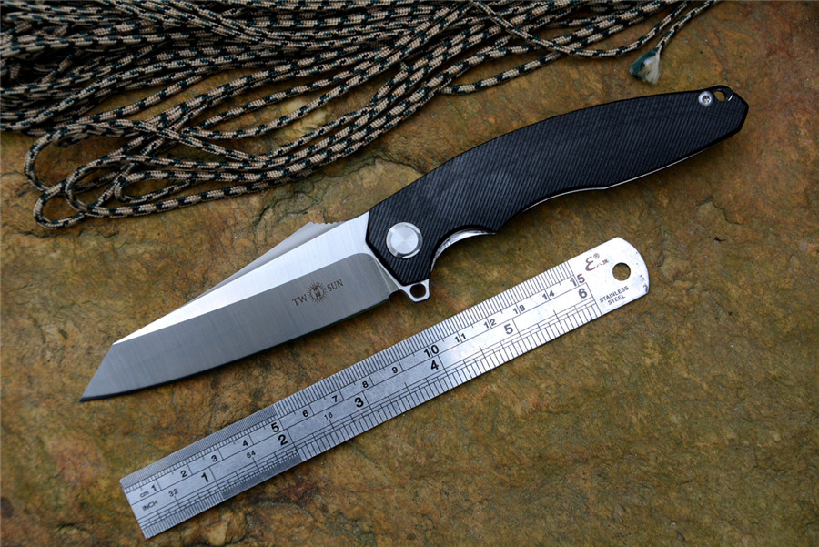 TwoSun Brand Knife TS 27 G10 Version D2 Blade Fold Knife Hunting Survival Tactical Knives for