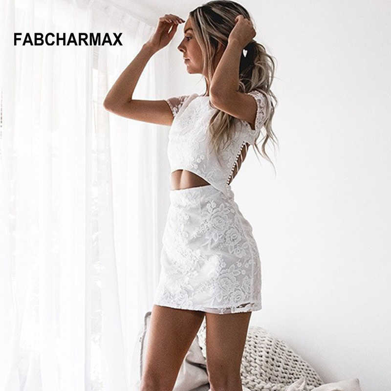 two piece embroidery floral white lace dress backless lace up round neck  women chic sexy short 29499344da66