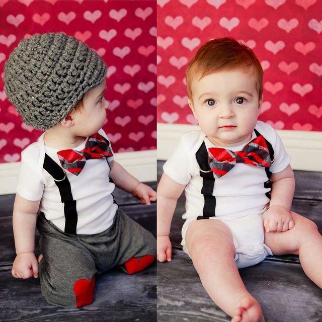11d7888f281d1 Cute Baby Boy Clothing Sets Bow Tie Bodysuit Suspenders Pants Tops 2pcs  Outfit Set Summer Clothes Photo Props 1-3 Years