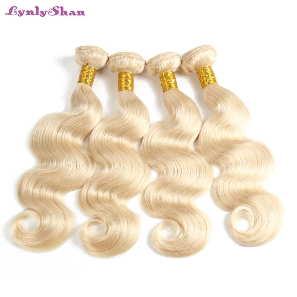 Lynlyshan 613# Blonde Body Wave Malaysian Hair Weave Human Hair Bundles with Closure 4PC Remy Hair and 1PC Lace Frontal Closure