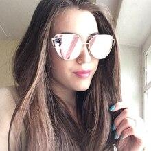 New Fashion Cat Eye Sunglasses Women Brand Designer Twin-Beam Mirror Lens Sun Glasses Rose Gold Metal UV400 Lentes de sol Female